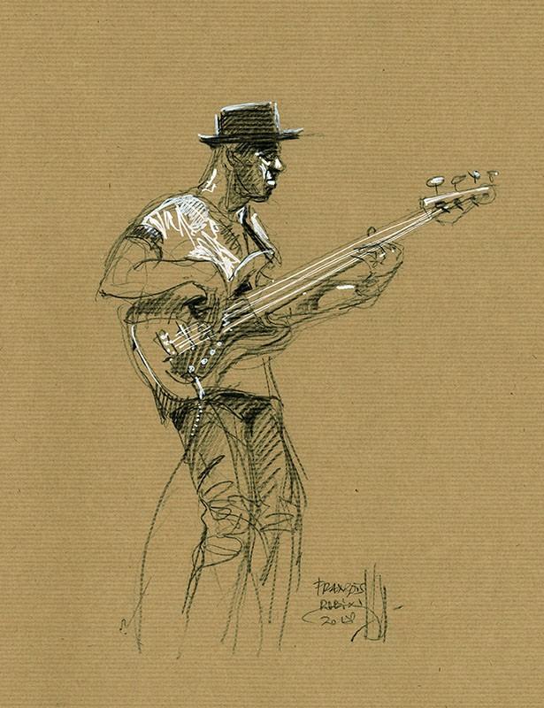 Portrait Marcus Miller. Concert du 3 juillet 2018 à Jazz à Vienne. Crayon noir & Posca sur Kraft