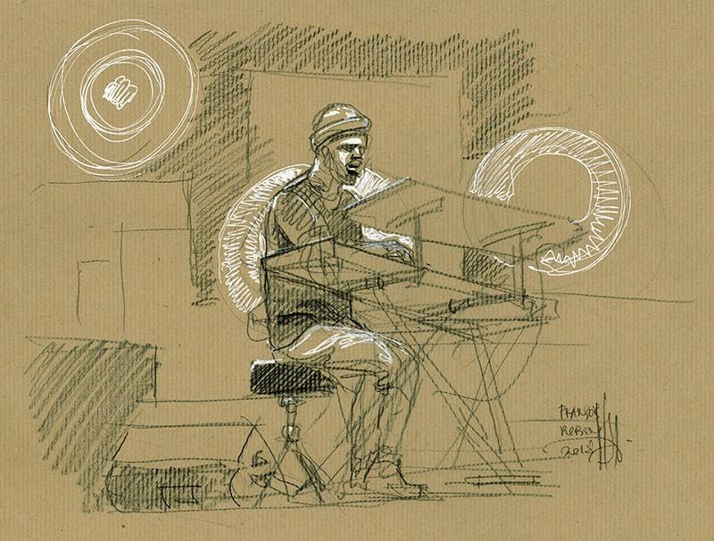 Brett Williams. Concert du 3 juillet 2018. Jazz à Vienne. Crayon noir & Posca sur kraft. Disponible à la vente.
