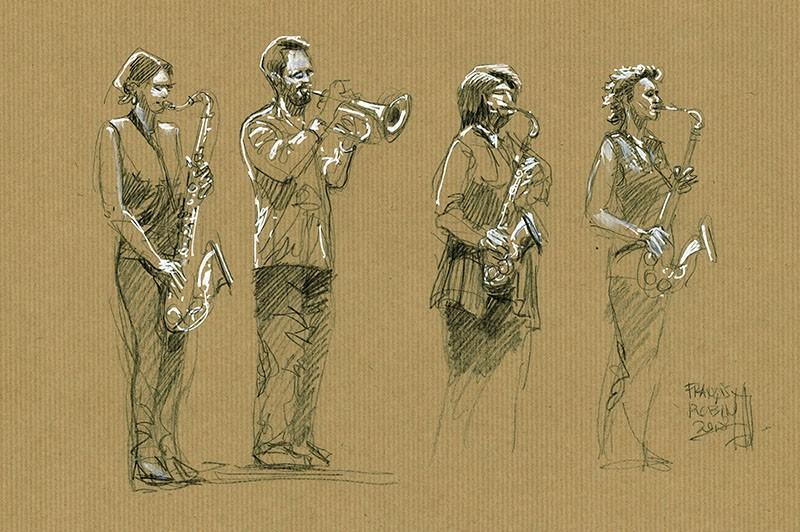 Lady Quartet. Crayon noir & Posca sur Kraft
